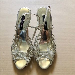 Nina New York gold strap heels